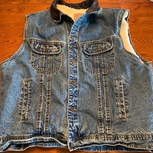 Mens Gap Sherpa Line Leather Collar Denim Vest XL